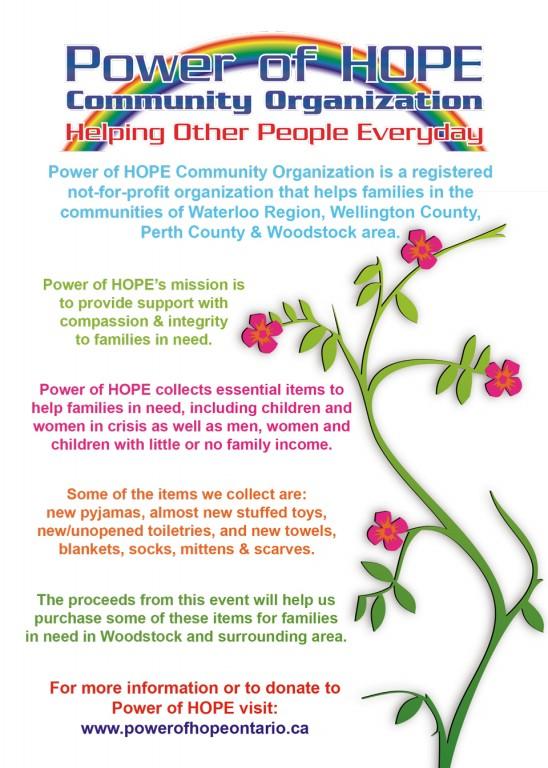 Power of HOPE Woodstock Spring Fling postcard back