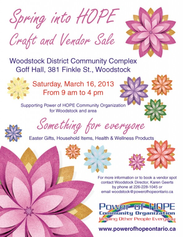 Spring into HOPE Craft Vendor Sale Woodstock