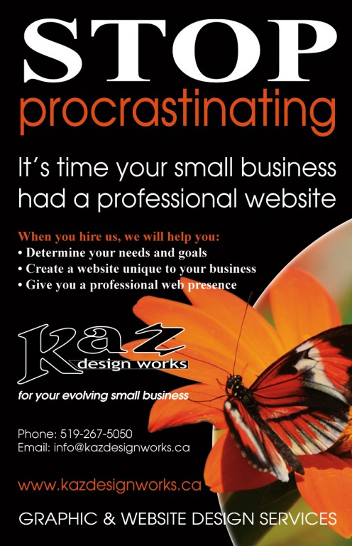Kaz Design Works - stop procrastinating ad